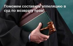 Возврат водительского удостоверения в суде - апелляция
